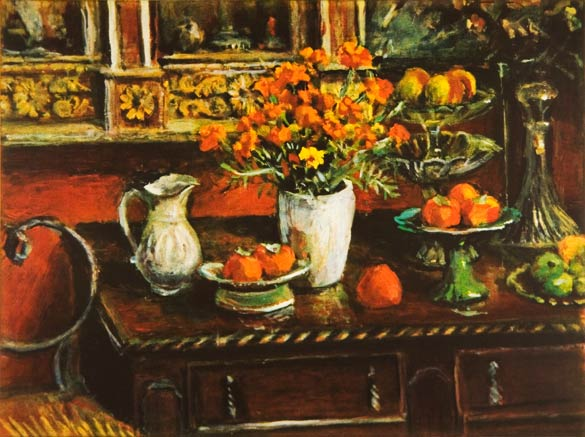 Marigolds and Fruit