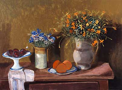 Still Life and Flowers, Plums and Oranges