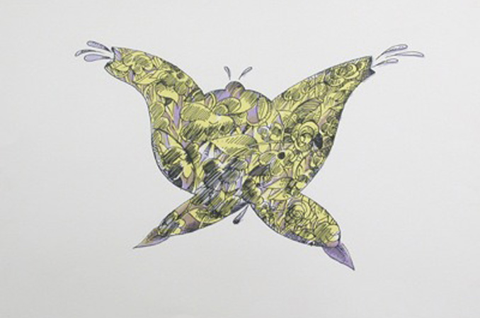 Tea Pot Butterfly Screen print